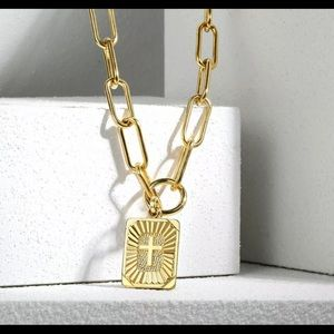 """Yellow Gold Plated Paperclip 16"""" Long Necklace"""